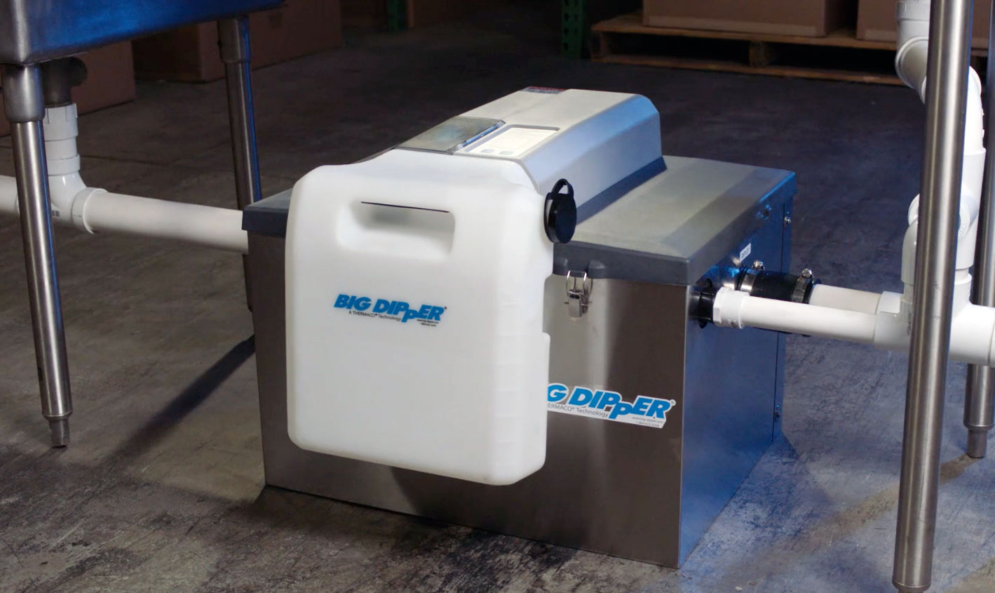 Big Dipper Automatics and Passive interceptors are designed to sit conveniently next to the sink or in a basement.