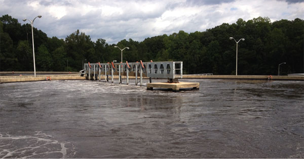 Aeration tank at Asheboro wastewater treatment plant